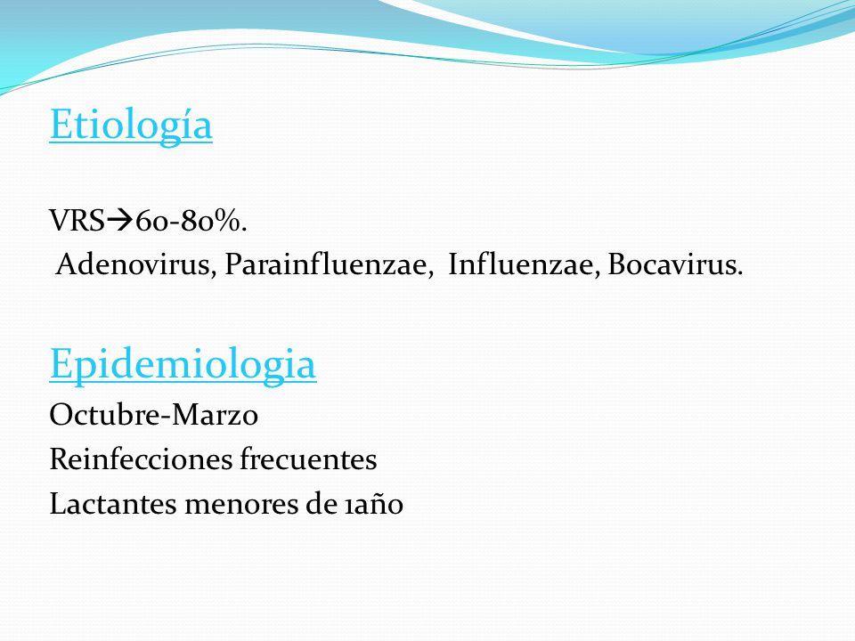 Etiología VRS 60-80%. Adenovirus, Parainfluenzae, Influenzae, Bocavirus. Epidemiologia Octubre-Marzo Reinfecciones frecuentes Lactantes menores de 1añ