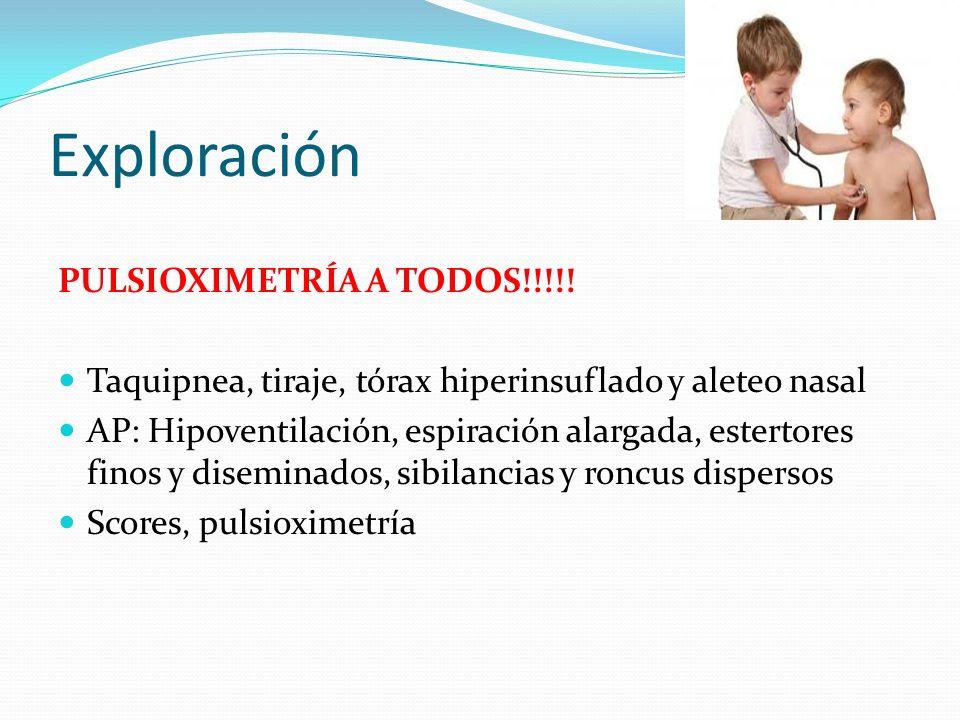 Exploración PULSIOXIMETRÍA A TODOS!!!!! Taquipnea, tiraje, tórax hiperinsuflado y aleteo nasal AP: Hipoventilación, espiración alargada, estertores fi