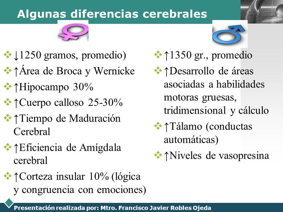 LOGO Presentación realizada por: Mtro. Francisco Javier Robles Ojeda Algunas diferencias cerebrales 1250 gramos, promedio) Área de Broca y Wernicke Hi
