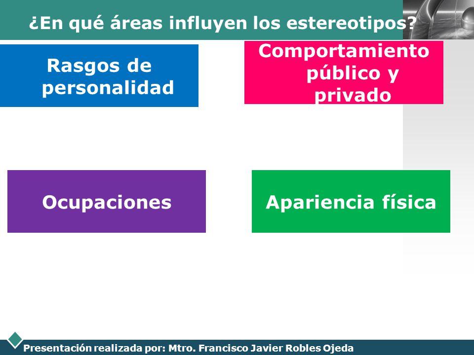 LOGO Presentación realizada por: Mtro. Francisco Javier Robles Ojeda ¿En qué áreas influyen los estereotipos? Rasgos de personalidad Comportamiento pú