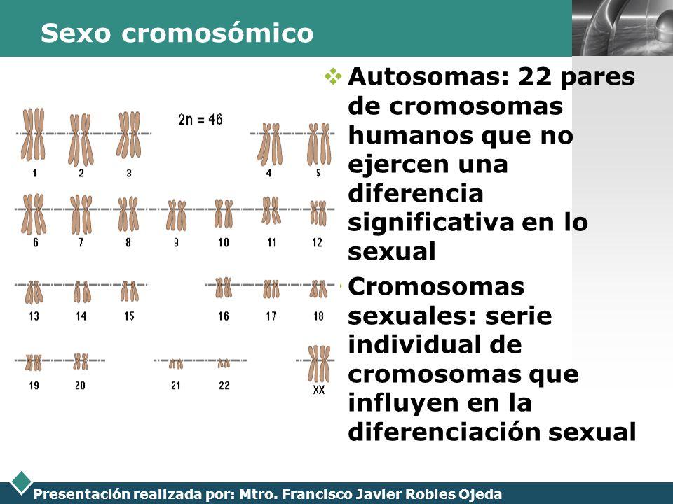 LOGO Presentación realizada por: Mtro. Francisco Javier Robles Ojeda Sexo cromosómico Autosomas: 22 pares de cromosomas humanos que no ejercen una dif