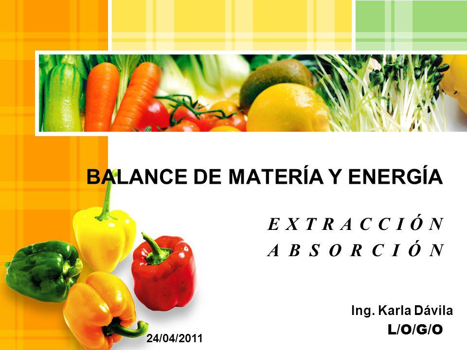 L/O/G/O EXTRACCIÓN ABSORCIÓN BALANCE DE MATERÍA Y ENERGÍA 24/04/2011 Ing. Karla Dávila