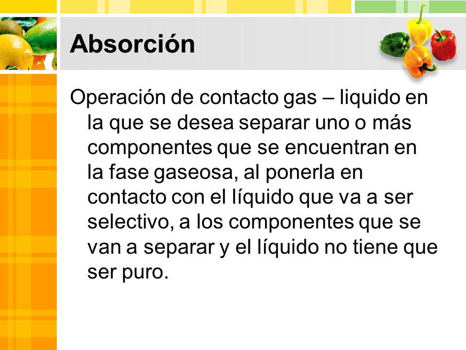 Absorción Operación de contacto gas – liquido en la que se desea separar uno o más componentes que se encuentran en la fase gaseosa, al ponerla en contacto con el líquido que va a ser selectivo, a los componentes que se van a separar y el líquido no tiene que ser puro.