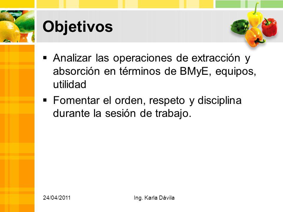 Objetivos Analizar las operaciones de extracción y absorción en términos de BMyE, equipos, utilidad Fomentar el orden, respeto y disciplina durante la sesión de trabajo.