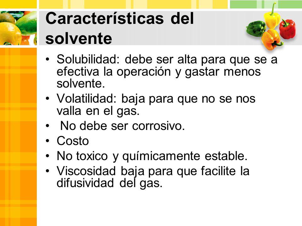 Características del solvente Solubilidad: debe ser alta para que se a efectiva la operación y gastar menos solvente.