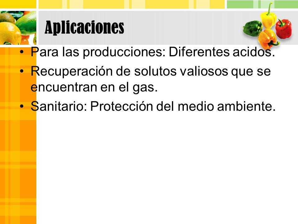 Aplicaciones Para las producciones: Diferentes acidos.