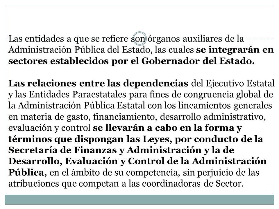 Las Entidades Paraestatales estarán sectorizadas de conformidad con lo siguiente: I.- Sector Gobernación: Corporación Auxiliar de Policía de Protección Ciudadana.