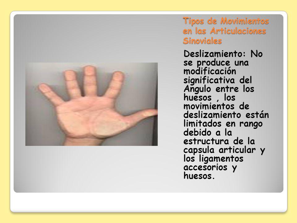 Tipos de Movimientos en las Articulaciones Sinoviales Deslizamiento: No se produce una modificación significativa del Angulo entre los huesos, los mov