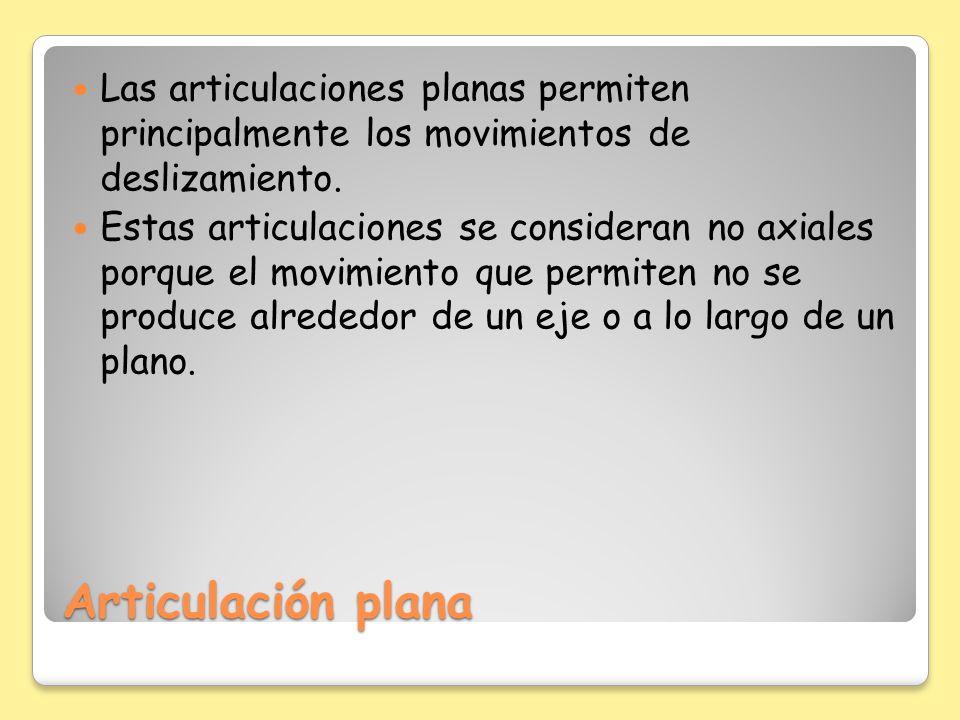 Articulación plana Las articulaciones planas permiten principalmente los movimientos de deslizamiento. Estas articulaciones se consideran no axiales p