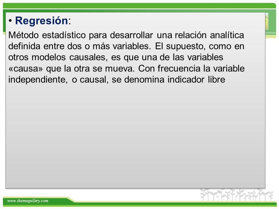 www.themegallery.com Regresión: Método estadístico para desarrollar una relación analítica definida entre dos o más variables. El supuesto, como en ot