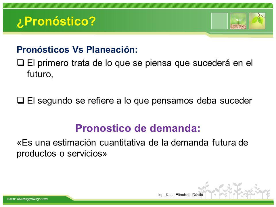 www.themegallery.com ¿Pronóstico? Pronósticos Vs Planeación: El primero trata de lo que se piensa que sucederá en el futuro, El segundo se refiere a l