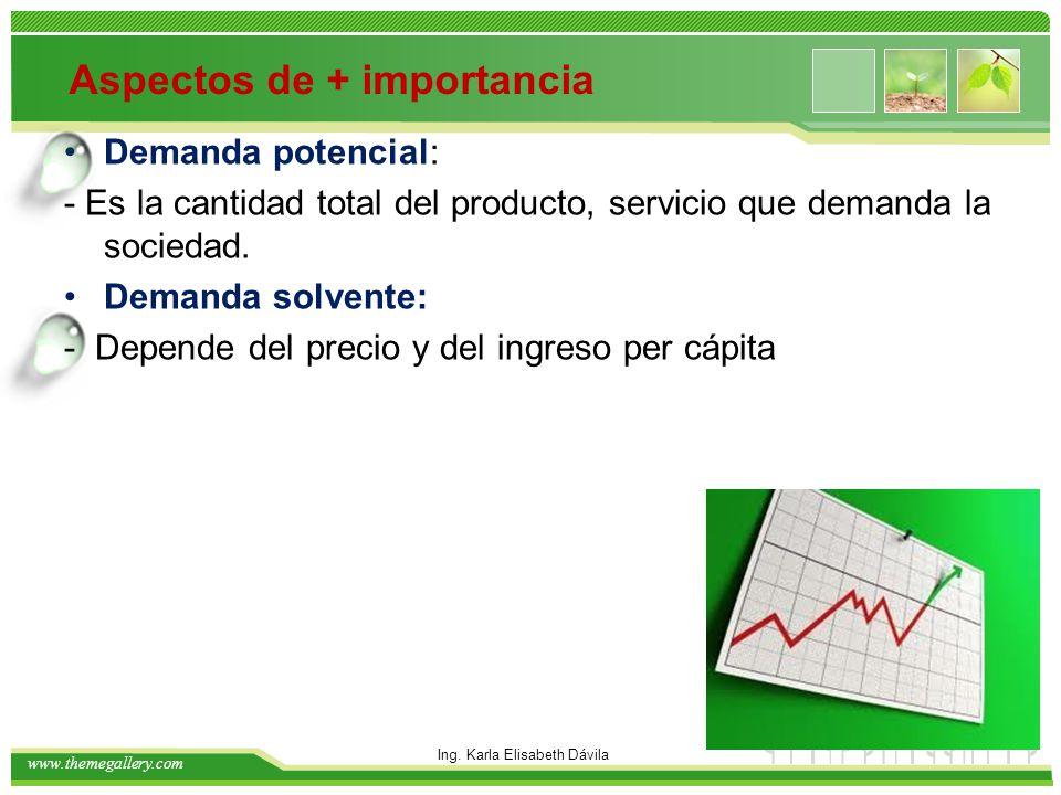 www.themegallery.com Aspectos de + importancia Demanda potencial: - Es la cantidad total del producto, servicio que demanda la sociedad. Demanda solve