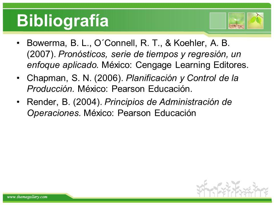 www.themegallery.com Bibliografía Bowerma, B. L., O´Connell, R. T., & Koehler, A. B. (2007). Pronósticos, serie de tiempos y regresión, un enfoque apl
