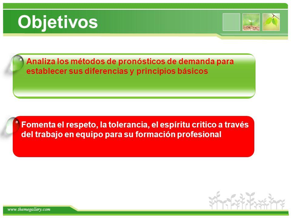 www.themegallery.com Objetivos 2 Analiza los métodos de pronósticos de demanda para establecer sus diferencias y principios básicos Fomenta el respeto