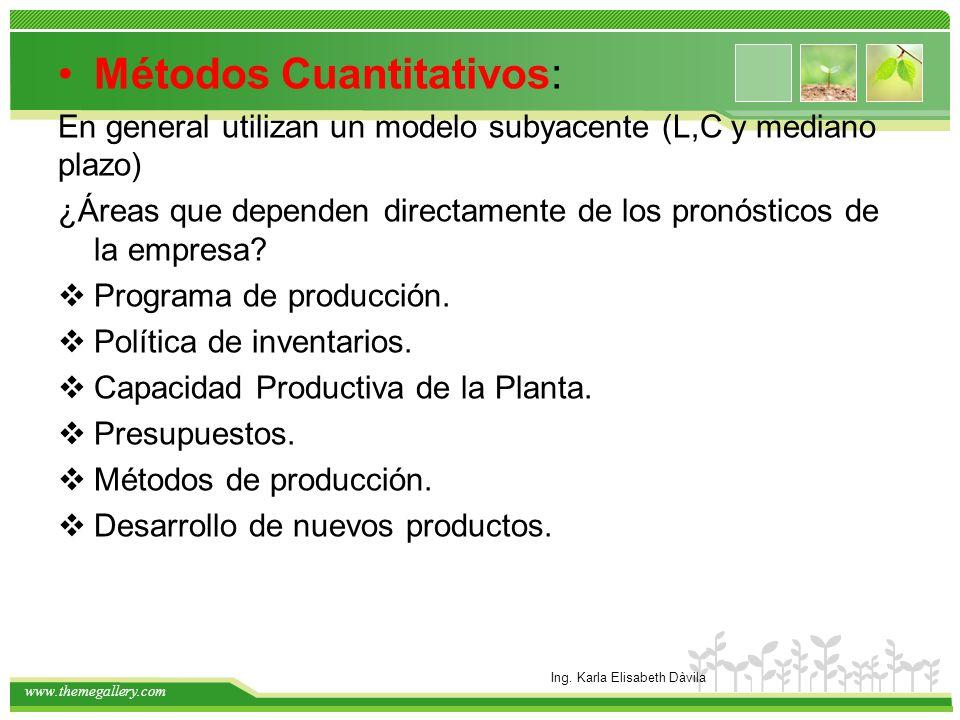 www.themegallery.com Métodos Cuantitativos: En general utilizan un modelo subyacente (L,C y mediano plazo) ¿Áreas que dependen directamente de los pro