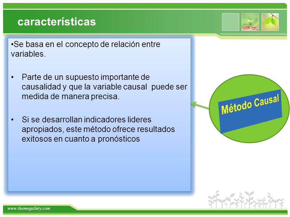 www.themegallery.com características Se basa en el concepto de relación entre variables. Parte de un supuesto importante de causalidad y que la variab
