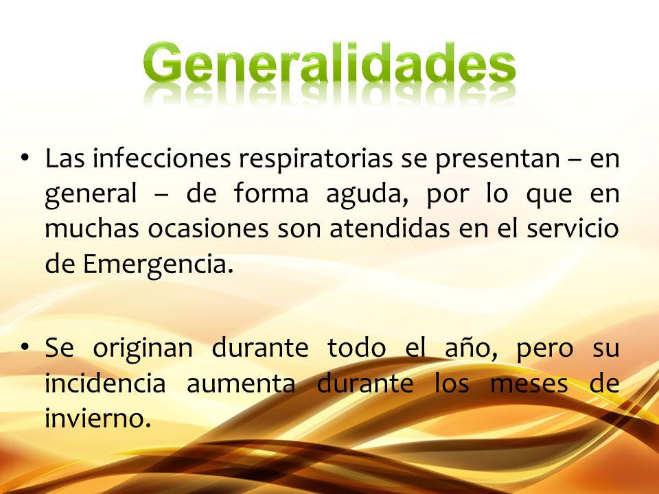 Las infecciones respiratorias se presentan – en general – de forma aguda, por lo que en muchas ocasiones son atendidas en el servicio de Emergencia. S