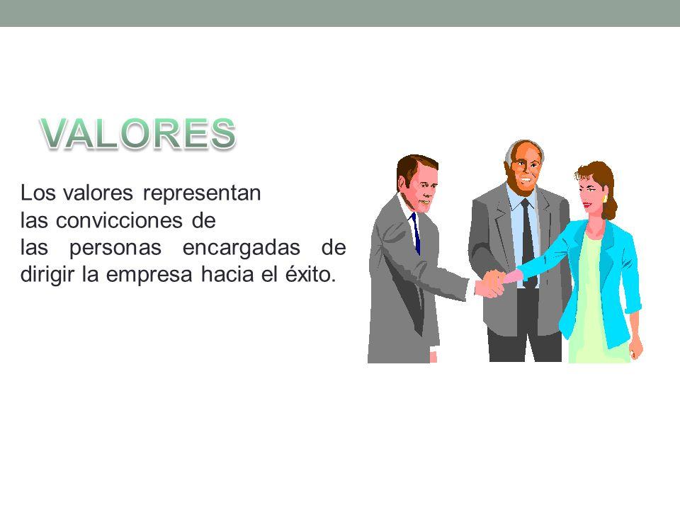 Los valores representan las convicciones de las personas encargadas de dirigir la empresa hacia el éxito.