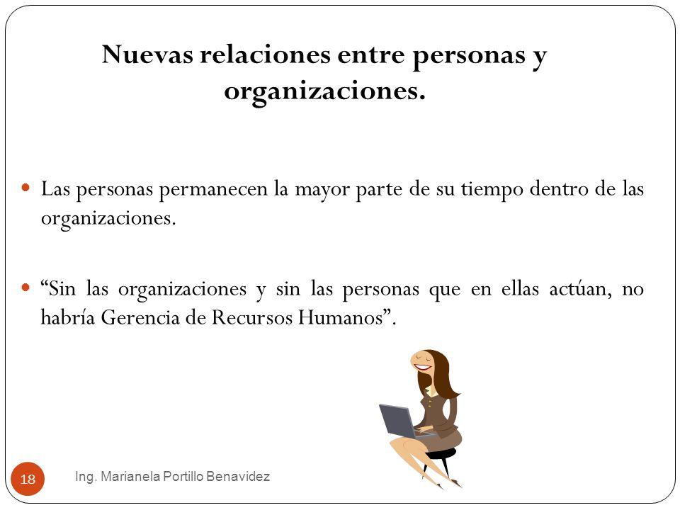 Ing. Marianela Portillo Benavidez 18 Nuevas relaciones entre personas y organizaciones. Las personas permanecen la mayor parte de su tiempo dentro de