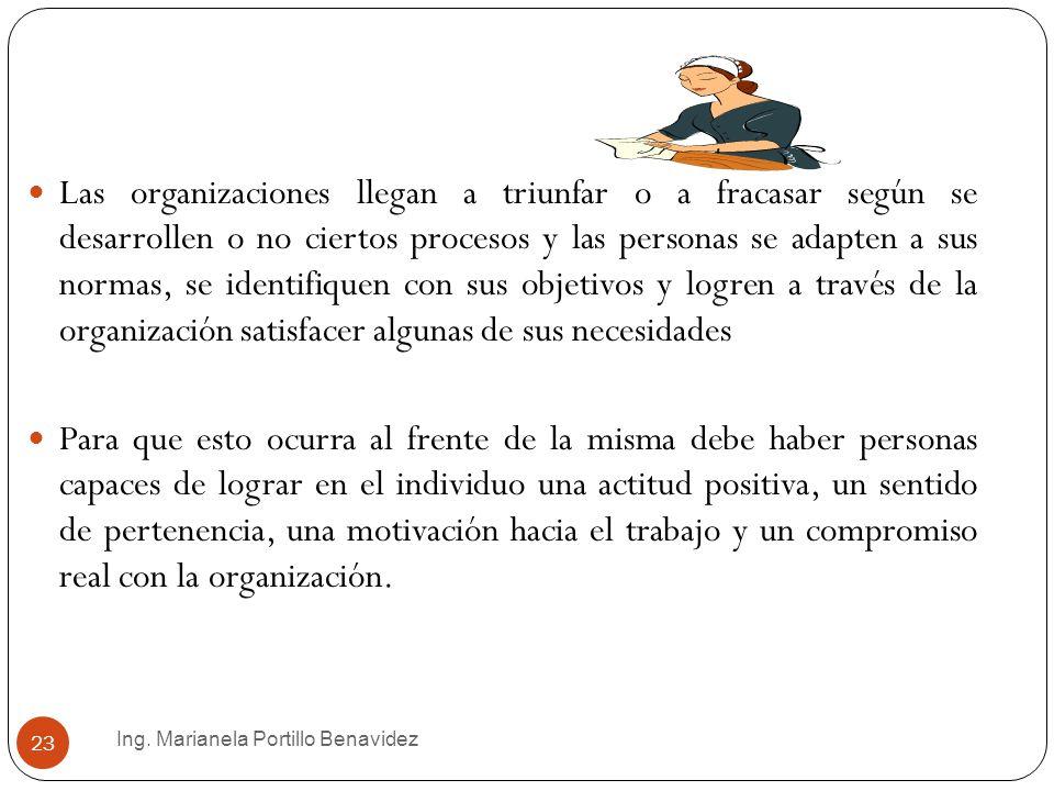 Ing. Marianela Portillo Benavidez 23 Las organizaciones llegan a triunfar o a fracasar según se desarrollen o no ciertos procesos y las personas se ad