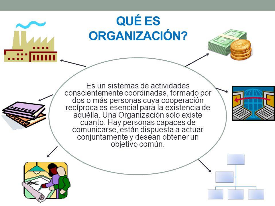 Es un sistemas de actividades conscientemente coordinadas, formado por dos o más personas cuya cooperación recíproca es esencial para la existencia de