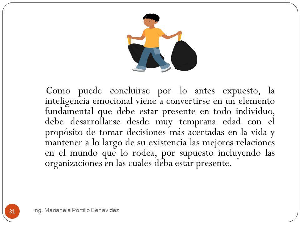 Ing. Marianela Portillo Benavidez 31 Como puede concluirse por lo antes expuesto, la inteligencia emocional viene a convertirse en un elemento fundame