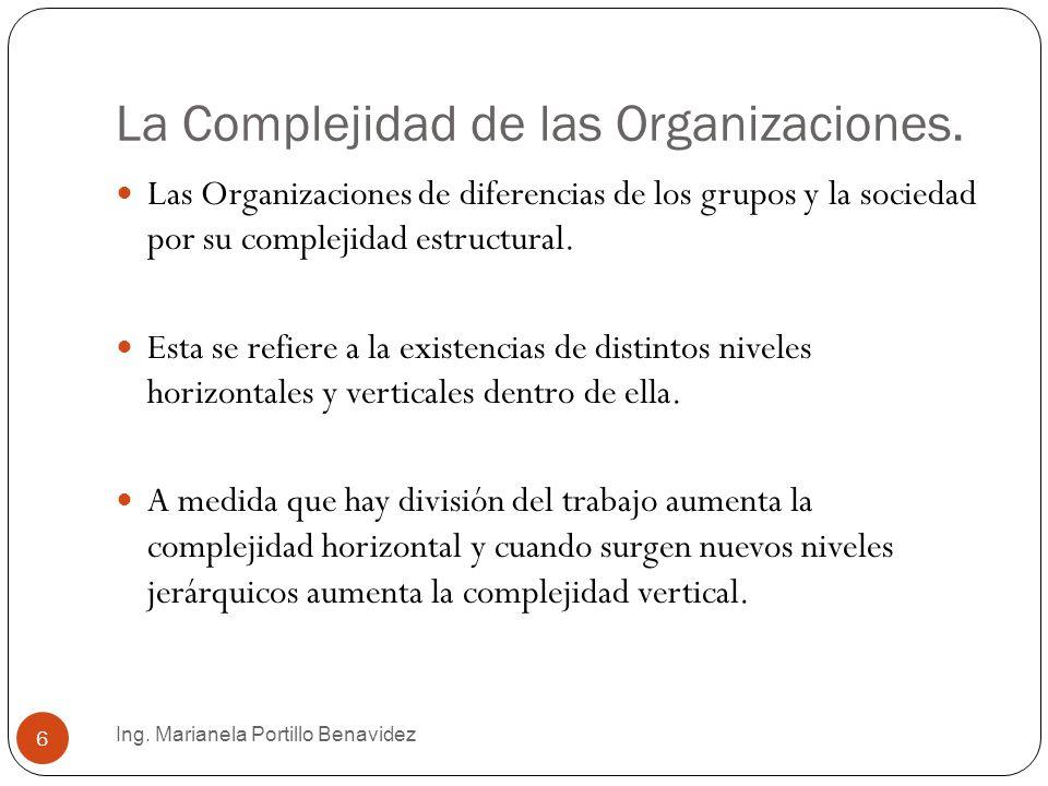 La Complejidad de las Organizaciones. Ing. Marianela Portillo Benavidez 6 Las Organizaciones de diferencias de los grupos y la sociedad por su complej