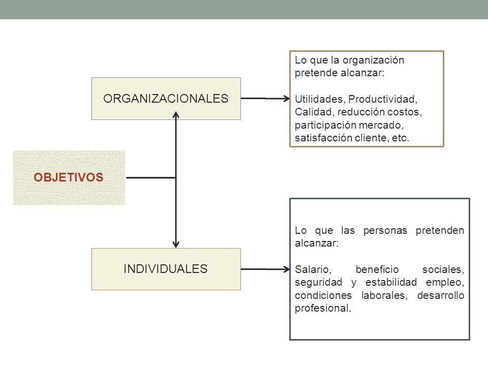 OBJETIVOS ORGANIZACIONALES INDIVIDUALES Lo que la organización pretende alcanzar: Utilidades, Productividad, Calidad, reducción costos, participación mercado, satisfacción cliente, etc.