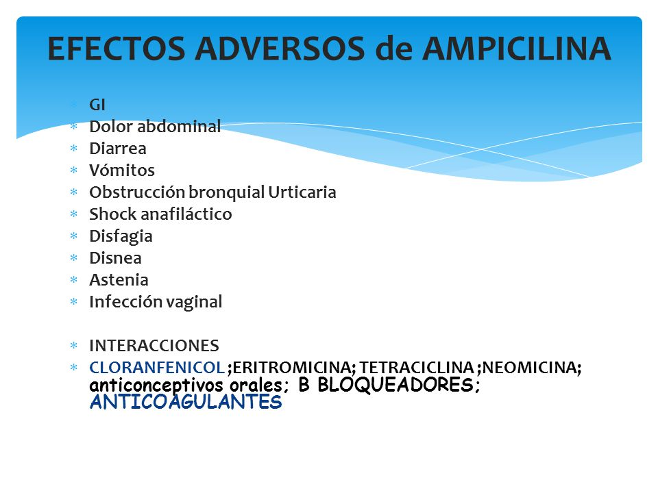 GI Dolor abdominal Diarrea Vómitos Obstrucción bronquial Urticaria Shock anafiláctico Disfagia Disnea Astenia Infección vaginal INTERACCIONES CLORANFE