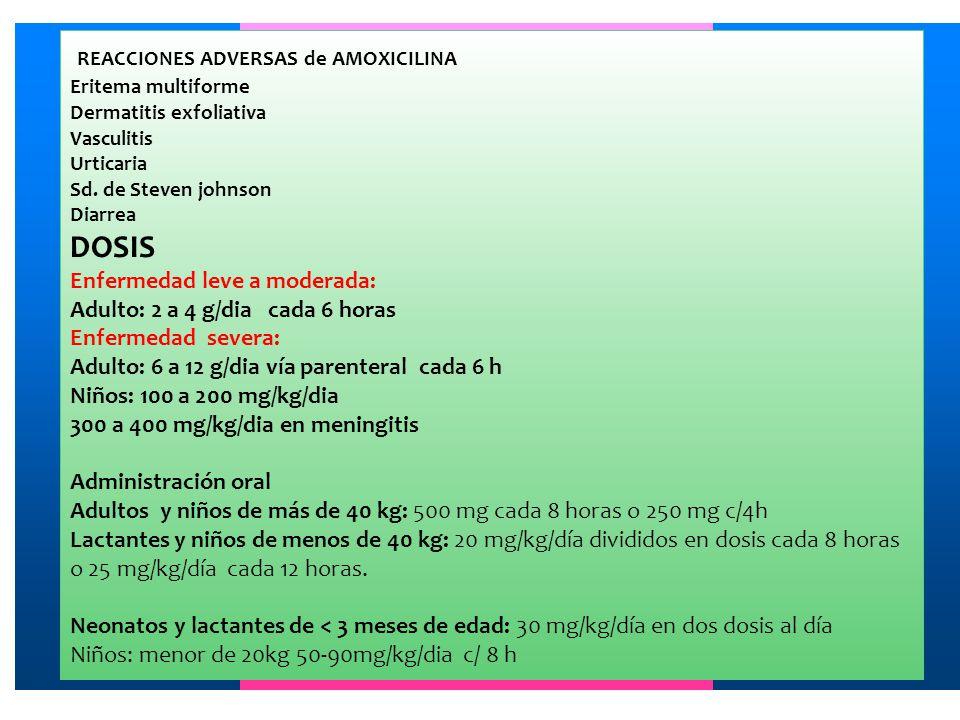 REACCIONES ADVERSAS de AMOXICILINA Eritema multiforme Dermatitis exfoliativa Vasculitis Urticaria Sd. de Steven johnson Diarrea DOSIS Enfermedad leve