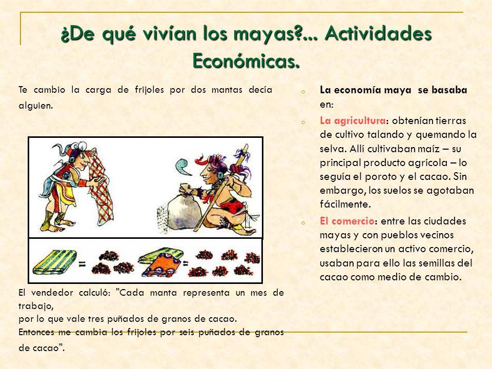 ¿De qué vivían los mayas?... Actividades Económicas. oLoLa economía maya se basaba en: oLoLa agricultura: obtenían tierras de cultivo talando y queman
