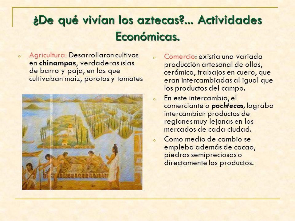 ¿De qué vivían los aztecas?... Actividades Económicas. o Agricultura: Desarrollaron cultivos en chinampas, verdaderas islas de barro y paja, en las qu
