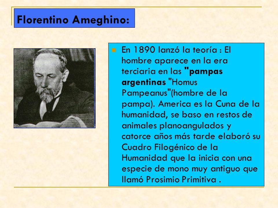 Florentino Ameghino: En 1890 lanzó la teoría : El hombre aparece en la era terciaria en las