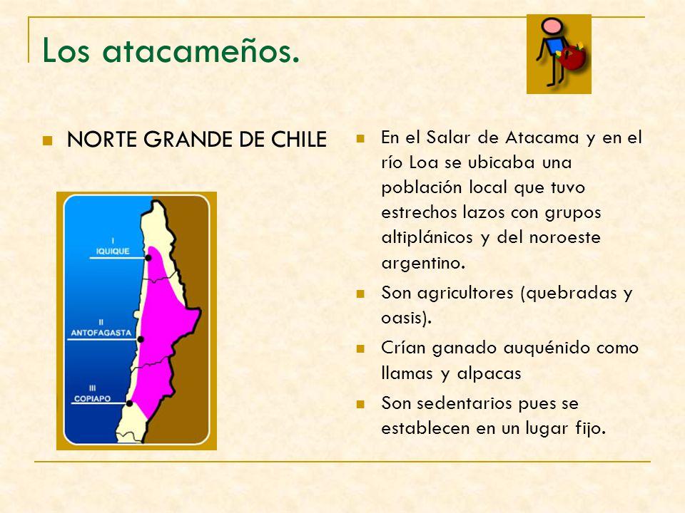 Los atacameños. NORTE GRANDE DE CHILE En el Salar de Atacama y en el río Loa se ubicaba una población local que tuvo estrechos lazos con grupos altipl