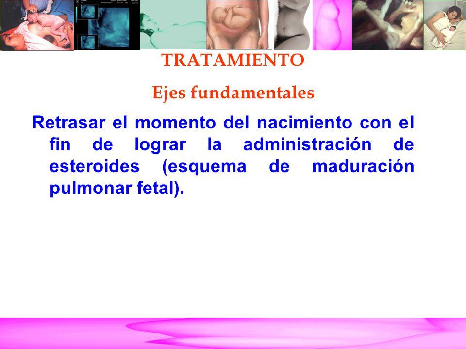 Parto Pretérmino Retrasar el momento del nacimiento con el fin de lograr la administración de esteroides (esquema de maduración pulmonar fetal). TRATA