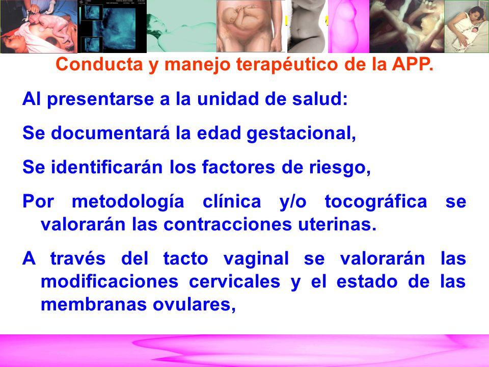 AMENAZA DE PARTO PRETÉRMINO Conducta y manejo terapéutico de la APP. Al presentarse a la unidad de salud: Se documentará la edad gestacional, Se ident
