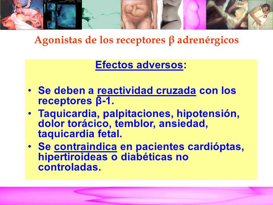 Parto Pretérmino Efectos adversos: Se deben a reactividad cruzada con los receptores β-1. Taquicardia, palpitaciones, hipotensión, dolor torácico, tem
