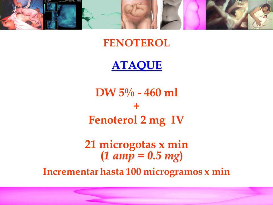 Parto Pretérmino FENOTEROL ATAQUE DW 5% - 460 ml + Fenoterol 2 mg IV 1 amp = 0.5 mg 21 microgotas x min ( 1 amp = 0.5 mg ) Incrementar hasta 100 micro