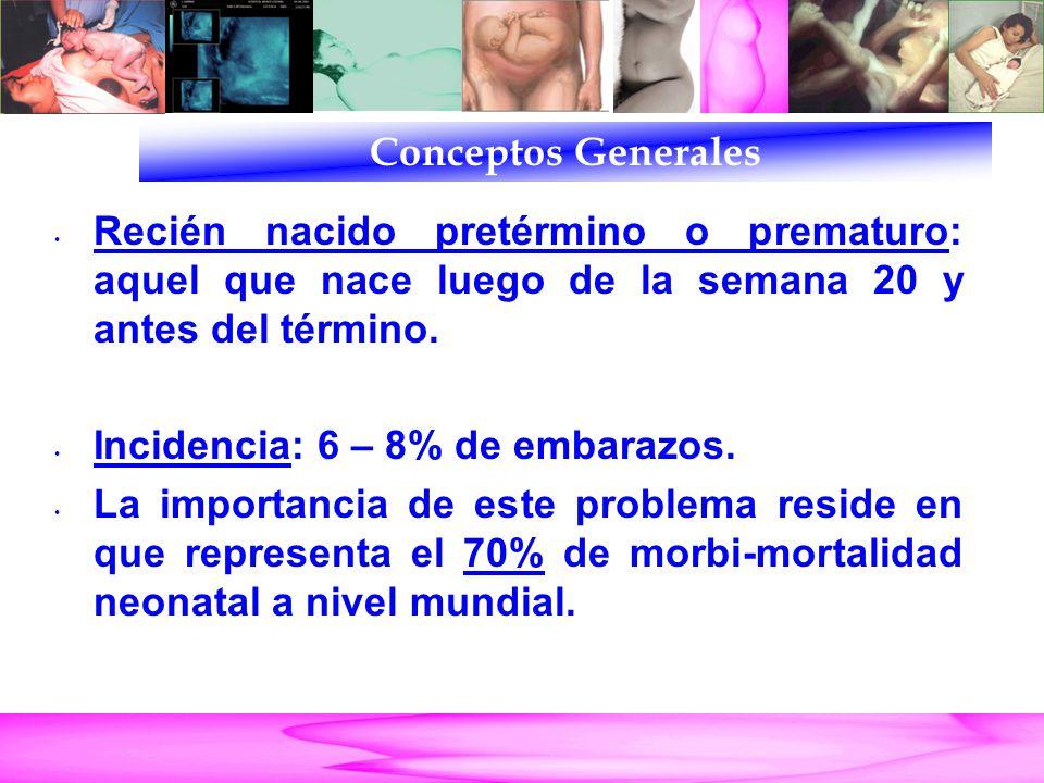 Parto Pretérmino Recién nacido pretérmino o prematuro: aquel que nace luego de la semana 20 y antes del término. Incidencia: 6 – 8% de embarazos. La i