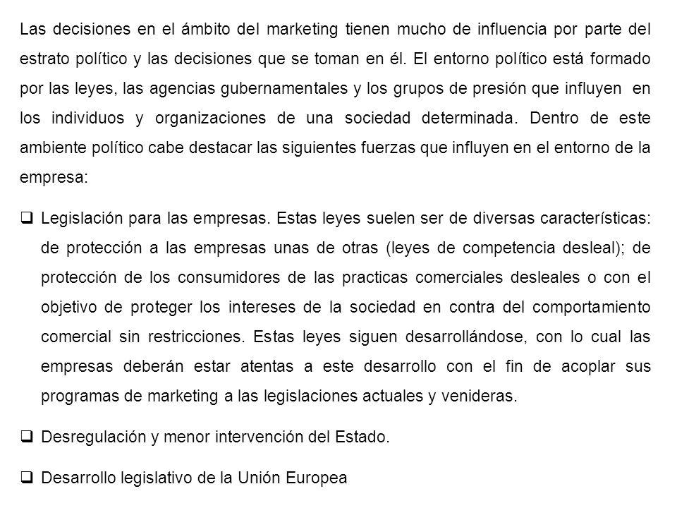 Las decisiones en el ámbito del marketing tienen mucho de influencia por parte del estrato político y las decisiones que se toman en él. El entorno po