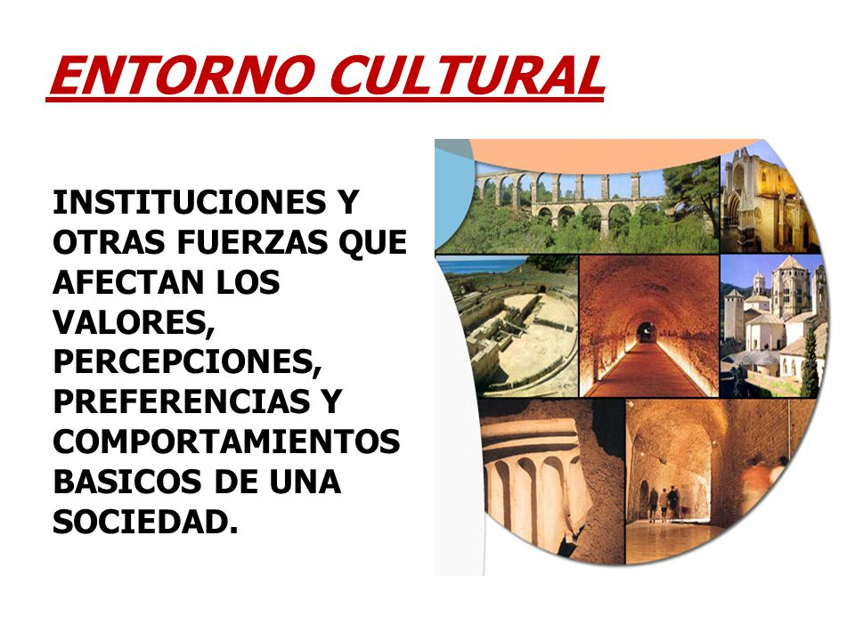 INSTITUCIONES Y OTRAS FUERZAS QUE AFECTAN LOS VALORES, PERCEPCIONES, PREFERENCIAS Y COMPORTAMIENTOS BASICOS DE UNA SOCIEDAD. ENTORNO CULTURAL