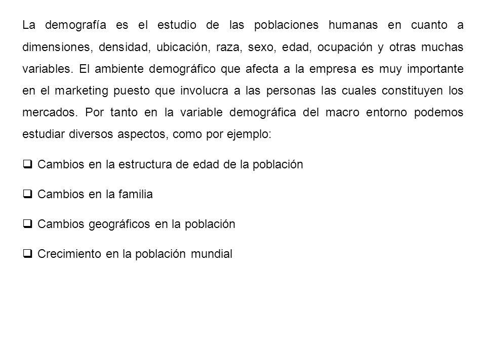 La demografía es el estudio de las poblaciones humanas en cuanto a dimensiones, densidad, ubicación, raza, sexo, edad, ocupación y otras muchas variab