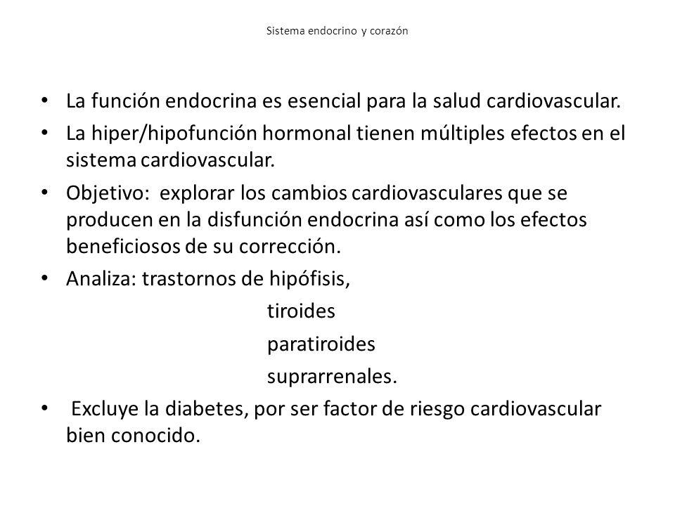 Sistema endocrino y corazón La función endocrina es esencial para la salud cardiovascular. La hiper/hipofunción hormonal tienen múltiples efectos en e