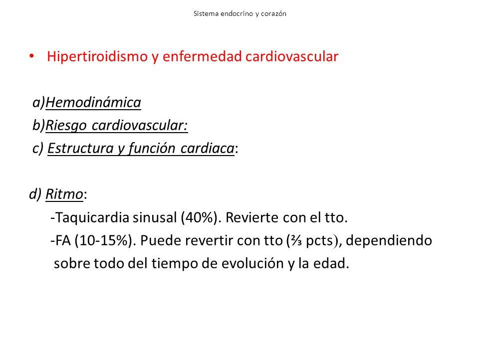 Sistema endocrino y corazón Hipertiroidismo y enfermedad cardiovascular a)Hemodinámica b)Riesgo cardiovascular: c) Estructura y función cardiaca: d) Ritmo: -Taquicardia sinusal (40%).