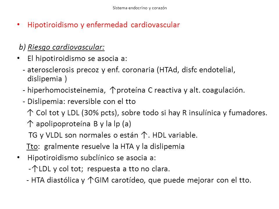 Sistema endocrino y corazón Hipotiroidismo y enfermedad cardiovascular b) Riesgo cardiovascular: El hipotiroidismo se asocia a: - aterosclerosis precoz y enf.