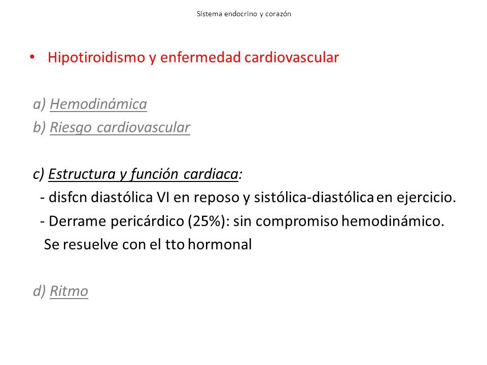 Sistema endocrino y corazón Hipotiroidismo y enfermedad cardiovascular a) Hemodinámica b) Riesgo cardiovascular c) Estructura y función cardiaca: - disfcn diastólica VI en reposo y sistólica-diastólica en ejercicio.