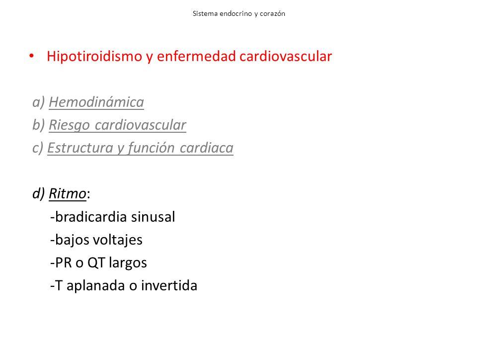 Sistema endocrino y corazón Hipotiroidismo y enfermedad cardiovascular a) Hemodinámica b) Riesgo cardiovascular c) Estructura y función cardiaca d) Ritmo: -bradicardia sinusal -bajos voltajes -PR o QT largos -T aplanada o invertida