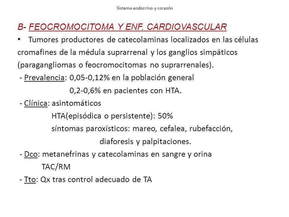 Sistema endocrino y corazón B- FEOCROMOCITOMA Y ENF. CARDIOVASCULAR Tumores productores de catecolaminas localizados en las células cromafines de la m