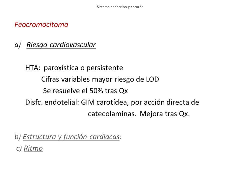 Sistema endocrino y corazón Feocromocitoma a)Riesgo cardiovascular HTA: paroxística o persistente Cifras variables mayor riesgo de LOD Se resuelve el 50% tras Qx Disfc.