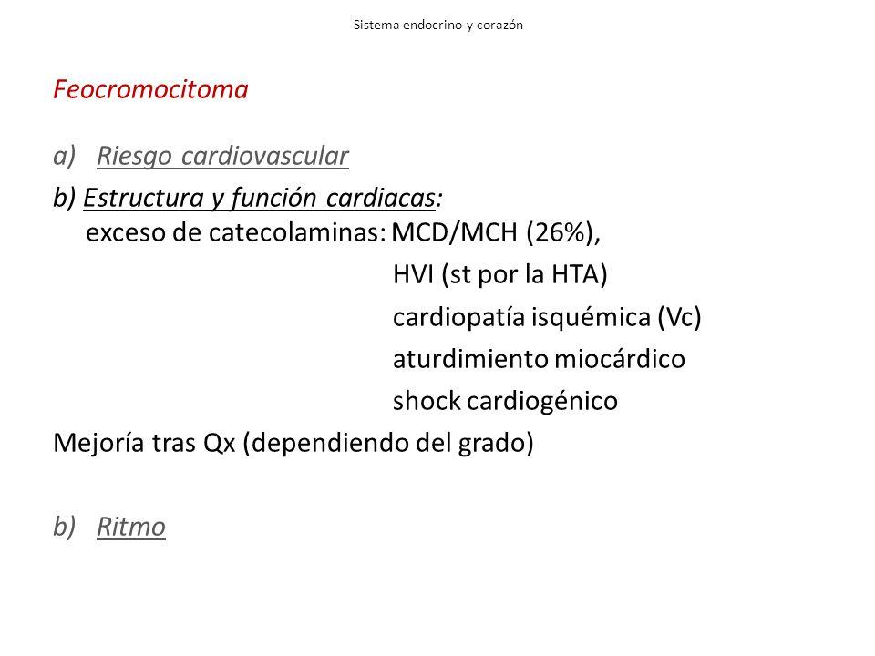Sistema endocrino y corazón Feocromocitoma a)Riesgo cardiovascular b) Estructura y función cardiacas: exceso de catecolaminas: MCD/MCH (26%), HVI (st por la HTA) cardiopatía isquémica (Vc) aturdimiento miocárdico shock cardiogénico Mejoría tras Qx (dependiendo del grado) b)Ritmo
